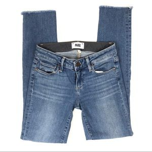 Paige Skyline Ankle Peg Frayed Hem Skinny Jeans